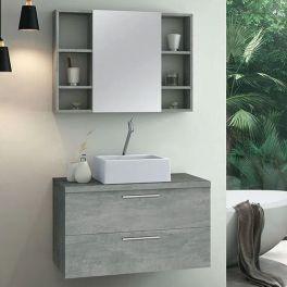 Gabinete Astral Design Santorini 60cm c/espelheira Cimentício